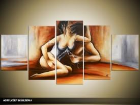 Acryl Schilderij Slaapkamer | Grijs, Bruin, Crème | 150x70cm 5Luik Handgeschilderd