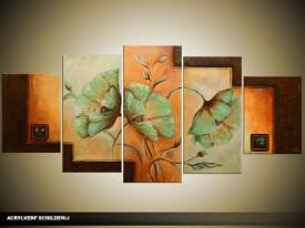 Acryl Schilderij Modern | Bruin, Groen, Oranje | 150x70cm 5Luik Handgeschilderd