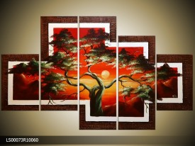 Acryl Schilderij Natuur | Rood, Bruin | 150x70cm 5Luik Handgeschilderd