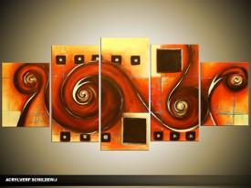 Acryl Schilderij Modern | Rood, Crème, Oranje | 150x70cm 5Luik Handgeschilderd