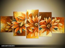 Acryl Schilderij Woonkamer | Bruin, Oranje, Crème | 150x70cm 5Luik Handgeschilderd