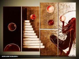 Acryl Schilderij Modern   Rood, Bruin   120x80cm 5Luik Handgeschilderd