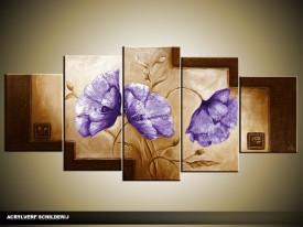 Acryl Schilderij Klaproos | Paars, Bruin | 150x70cm 5Luik Handgeschilderd