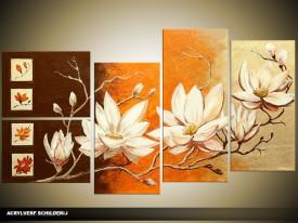 Acryl Schilderij Magnolia | Oranje, Bruin, Crème | 130x70cm 5Luik Handgeschilderd