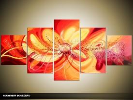 Acryl Schilderij Modern | Oranje, Geel | 150x70cm 5Luik Handgeschilderd
