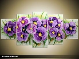 Acryl Schilderij Woonkamer | Paars, Groen | 150x70cm 5Luik Handgeschilderd