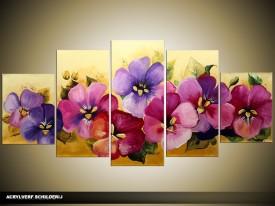 Acryl Schilderij Woonkamer | Paars, Roze, Geel | 150x70cm 5Luik Handgeschilderd