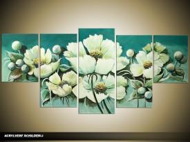 Acryl Schilderij Woonkamer | Groen | 150x70cm 5Luik Handgeschilderd