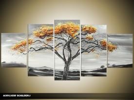 Acryl Schilderij Natuur | Grijs, Bruin | 150x70cm 5Luik Handgeschilderd