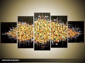 Acryl Schilderij Modern | Zwart, Geel | 150x70cm 5Luik Handgeschilderd