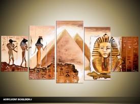 Acryl Schilderij Egypte | Bruin | 150x70cm 5Luik Handgeschilderd