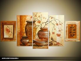 Acryl Schilderij Woonkamer   Bruin, Crème   150x70cm 5Luik Handgeschilderd