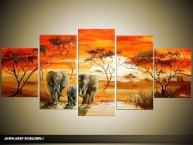 Acryl Schilderij Natuur | Oranje, Rood | 150x70cm 5Luik Handgeschilderd