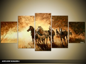Acryl Schilderij Paarden | Bruin, Crème | 150x70cm 5Luik Handgeschilderd