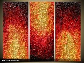Acryl Schilderij Modern | Bruin, Oranje, Rood | 120x80cm 3Luik Handgeschilderd