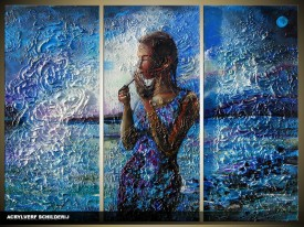 Acryl Schilderij Vrouw | Blauw | 120x80cm 3Luik Handgeschilderd