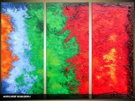 Acryl Schilderij Modern | Groen, Rood, Blauw | 120x80cm 3Luik Handgeschilderd
