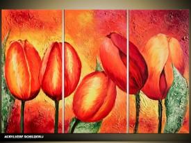 Acryl Schilderij Tulp | Rood, Oranje, Geel | 120x80cm 3Luik Handgeschilderd