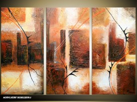 Acryl Schilderij Modern | Bruin, Crème | 120x80cm 3Luik Handgeschilderd