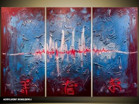 Acryl Schilderij Modern | Blauw, Rood | 120x80cm 3Luik Handgeschilderd