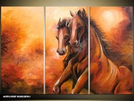 Acryl Schilderij Paarden | Bruin | 120x80cm 3Luik Handgeschilderd