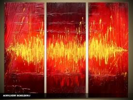 Acryl Schilderij Modern | Rood, Geel | 120x80cm 3Luik Handgeschilderd