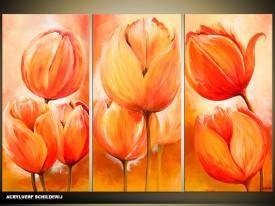 Acryl Schilderij Tulp   Oranje   120x80cm 3Luik Handgeschilderd
