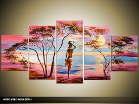 Acryl Schilderij Afrika | Paars, Blauw | 150x70cm 5Luik Handgeschilderd