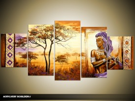Acryl Schilderij Afrika | Bruin, Paars, Crème | 150x70cm 5Luik Handgeschilderd