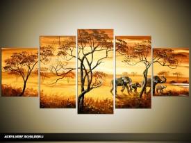 Acryl Schilderij Olifant   Bruin, Geel   150x70cm 5Luik Handgeschilderd