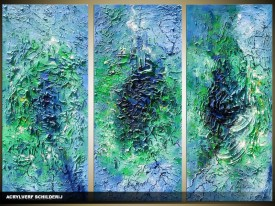 Acryl Schilderij Modern | Groen, Blauw | 120x80cm 3Luik Handgeschilderd