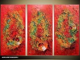 Acryl Schilderij Modern | Rood, Groen | 120x80cm 3Luik Handgeschilderd
