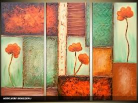 Acryl Schilderij Modern | Bruin, Groen | 120x80cm 3Luik Handgeschilderd