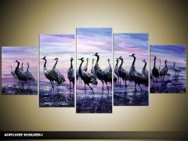 Acryl Schilderij Woonkamer | Paars, Blauw | 150x70cm 5Luik Handgeschilderd