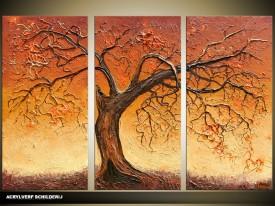 Acryl Schilderij Boom | Bruin | 120x80cm 3Luik Handgeschilderd
