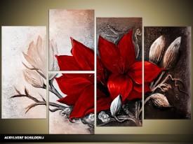 Acryl Schilderij Magnolia | Rood, Bruin | 120x80cm 5Luik Handgeschilderd