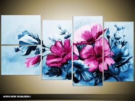 Acryl Schilderij Bloemen | Blauw, Roze | 130x70cm 5Luik Handgeschilderd