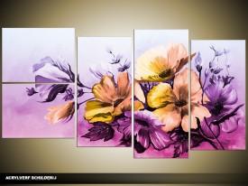 Acryl Schilderij Bloemen | Paars, Roze | 130x70cm 5Luik Handgeschilderd