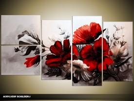 Acryl Schilderij Bloemen | Rood | 130x70cm 5Luik Handgeschilderd