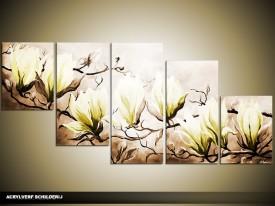 Acryl Schilderij Magnolia | Bruin, Groen | 150x70cm 5Luik Handgeschilderd