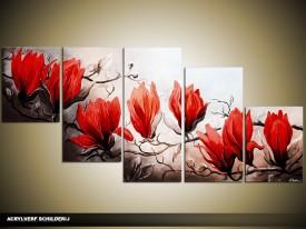 Acryl Schilderij Magnolia | Rood, Bruin | 150x70cm 5Luik Handgeschilderd