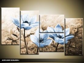 Acryl Schilderij Woonkamer | Blauw, Bruin | 130x70cm 5Luik Handgeschilderd