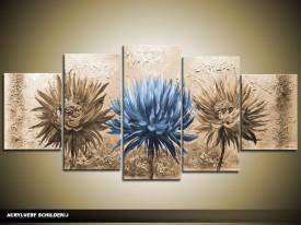 Acryl Schilderij Woonkamer | Blauw, Bruin | 150x70cm 5Luik Handgeschilderd