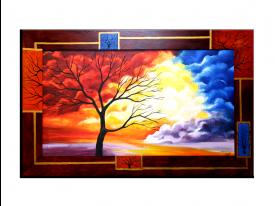 OP VOORRAAD Acrylverf schilderij houten lijst - meegeschilderd | Boom | 118x78cm |