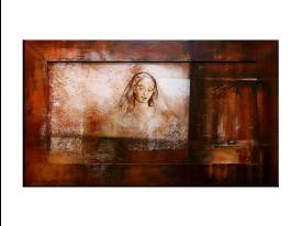 OP VOORRAAD Acrylverf schilderij houten lijst - meegeschilderd | Vrouw | 118x78cm |