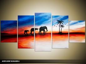 Acryl Schilderij Olifant   Rood, Oranje, Blauw   150x70cm 5Luik Handgeschilderd