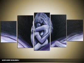 Acryl Schilderij Kunst, Sexy | Paars, Blauw, Zwart | 150x70cm 5Luik Handgeschilderd