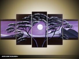 Acryl Schilderij Natuur | Paars, Zwart | 150x70cm 5Luik Handgeschilderd