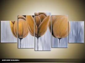 Acryl Schilderij Tulp | Geel, Grijs | 150x70cm 5Luik Handgeschilderd