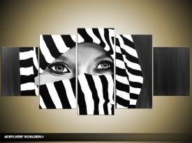 Acryl Schilderij Modern | Zwart, Wit, Grijs | 150x70cm 5Luik Handgeschilderd